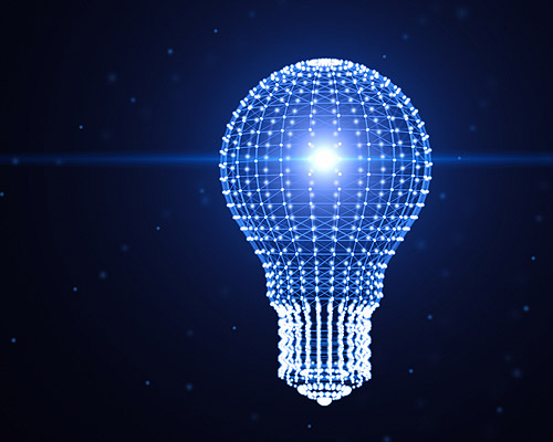 stylized light bulb made up of data symbols