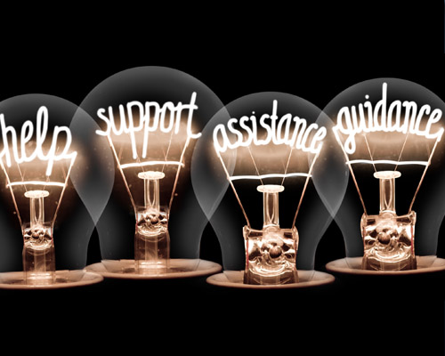 lightbulb filaments spelling out help support assistance guidance
