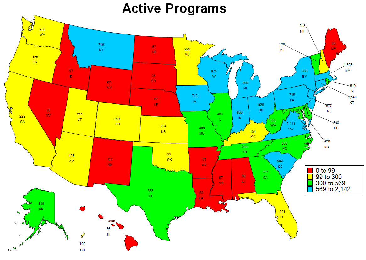 Image of Active Programs 2016 Map