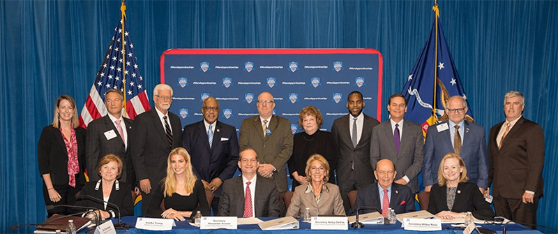 Members of the Task Force on Apprenticeship Expansion in America gather for a photo following the first meeting.