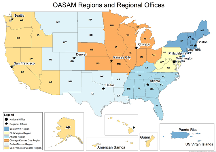 OASAM Regions and Regional Offices