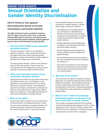 Sexual Orientation and Gender Identity Fact Sheet