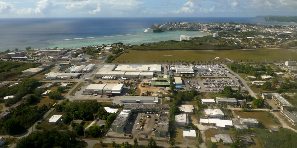 Aerial view of a city in Guam