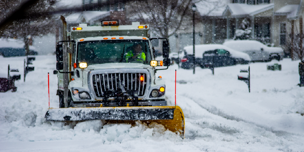 Photo: A snow plow in action