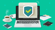 Graphic concept: a laptop with a security shield icon