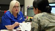 A veteran meets with a recruiter
