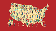 An illustrated outline of the United States, full of workers representing diverse backgrounds and occupations.