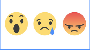 Facebook icons expressing surprise, sadness and anger.