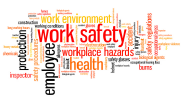 A word cloud featuring the words work safety, workplace hazards, employee, protection, health and work environment.