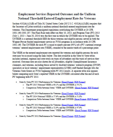 Employment Services Reported Outcomes and the Uniform National Threshold Entered Employment Rate for Veterans