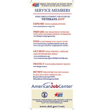 Service Member, Spouse and Caregiver Resource Card