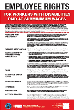 Employee Rights for Workers with Disabilities/Special Minimum Wage Poster