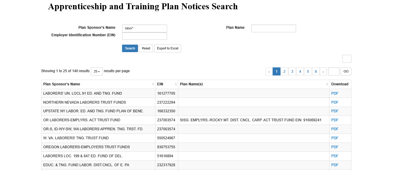 Apprenticeship and Training Plan Notice Search Instructions screenshot. Employer Name entry box, Employer Identification Number (EIN) entry box, Plan Name entry box, Search, Reset, Export to Excel buttons. Showing page 1 of the labor* Plan Sponsor Name entry search results. Employer, EIN, Plan Name(s), and Download columns.