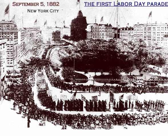 A sketch shows a large crowd gathered to watch a parade. The image is labeled September 5, 1882, New York City. The First Labor Day Parade.
