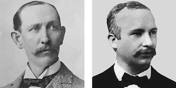 Who Founded US Labor Day? Black and white portraits of machinist Matthew Maguire and carpenter Peter McGuire.