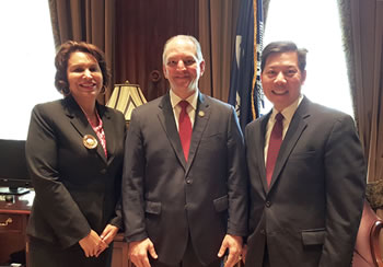 Left to right: Louisiana Workforce Commission Executive Director Ava Dejoie joined Gov. John Bel Edwards and Deputy U.S. Secretary of Labor Chris Lu in Baton Rouge today to announce a National Dislocated Worker Grant of nearly $1.7M to help 21 of the stat