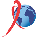 HIV/AIDS ribbon with a globe
