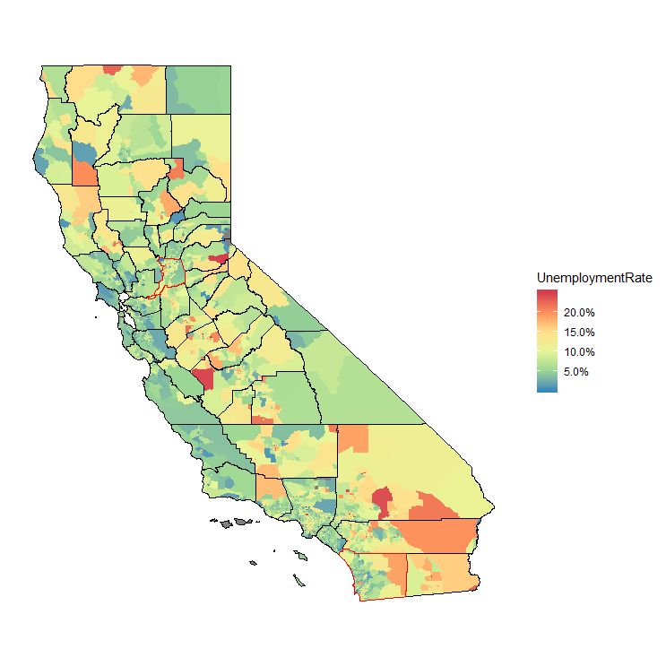 California, Unemployment Rate by Census Tract, ACS 5-Year 2017