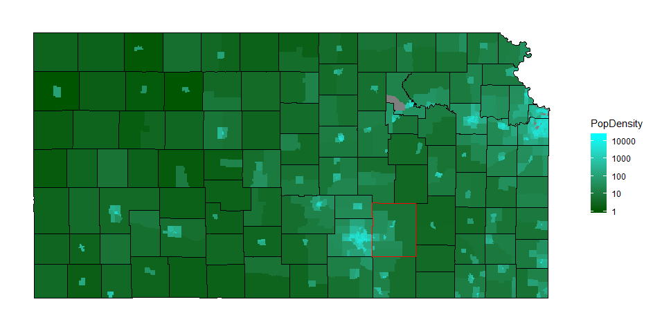 Kansas, Population Density (people per square mile) by Census Tract, ACS 5-Year 2017