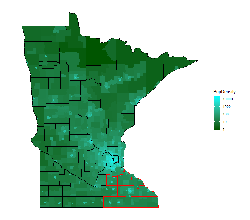Minnesota Population Density (people per square mile) by Census Tract, ACS 5-year 2017