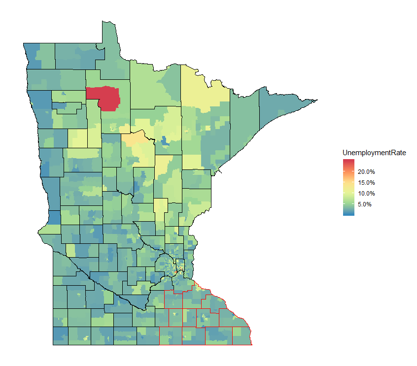 Minnesota, Unemployment Rate by Census Tract, ACS 5-year 2017