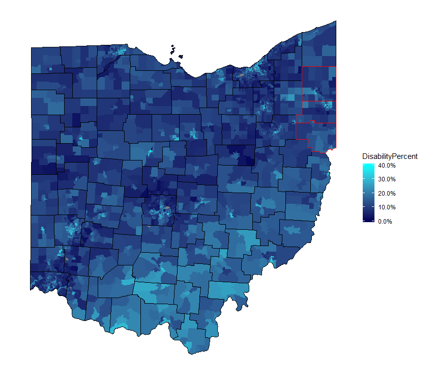 COhio, People with Disability (percent, aged 18-64) by Census Tract, ACS 5-year 2017