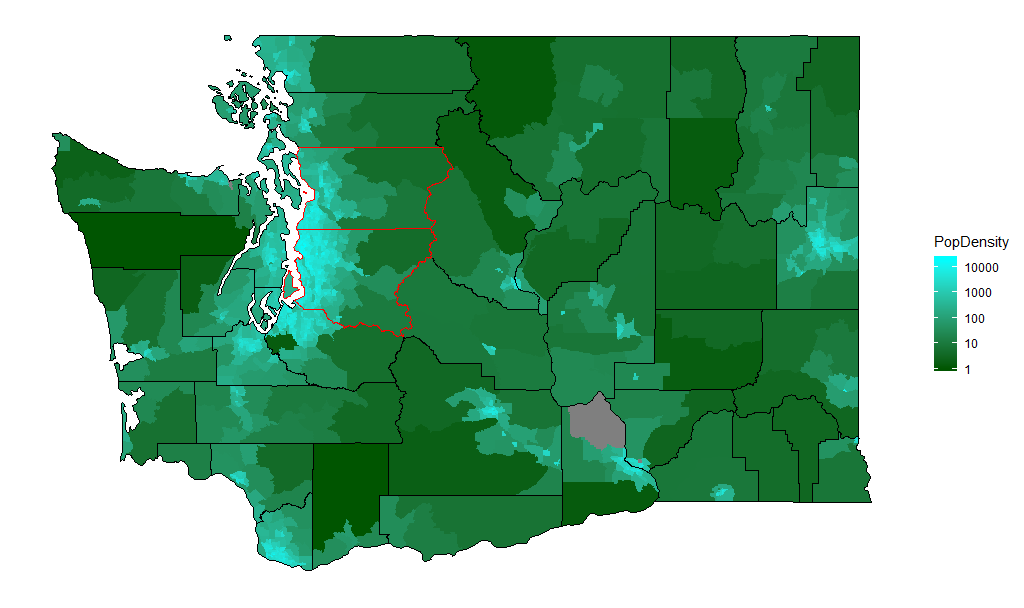 Washington Population Density (people per square mile) by Census Tract, ACS 5-year 2017
