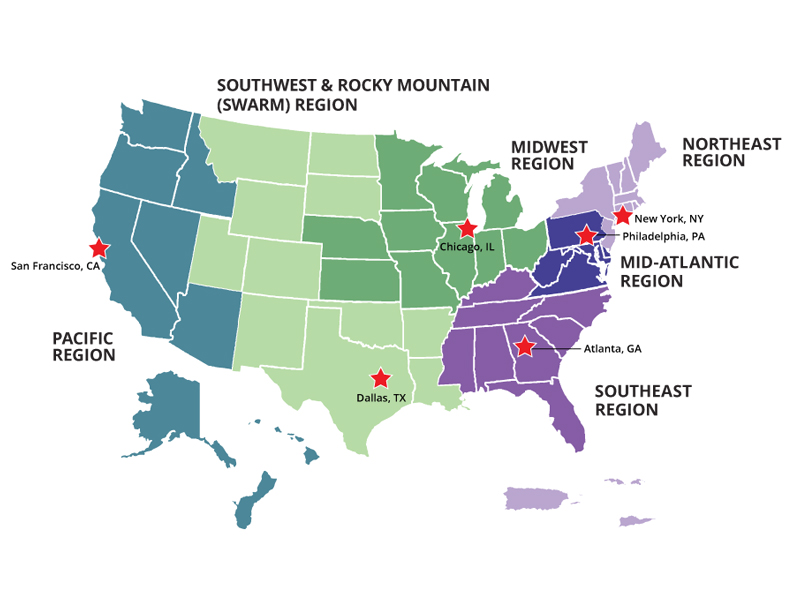 OFCCP Compliance Information Regional Contact - Us map midwest region