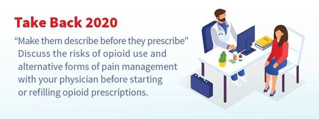 Take Back 2020. Make them describe before they prescribe. Discuss the risks of opioid use and alternative forms of pain management with your physician before starting or refilling opioid prescriptions.