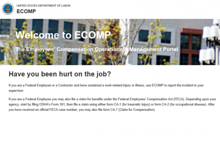 image of ecomp landing page