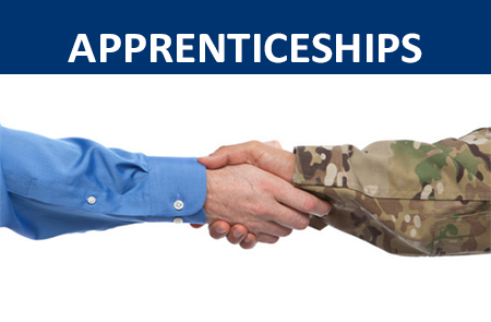 Apprenticeships text - arm with business shirt shaking hand with military shirt