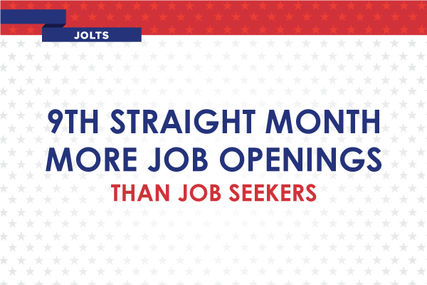 9th Straight Month More Job Openings Than Job Seekers